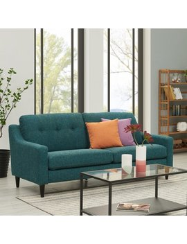Handy Living Regina Scooped Arm Blue Tweed So Fast Sofa by Handy Living