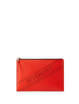 Emblem Medium Perforated Leather Pouch Bag by Givenchy