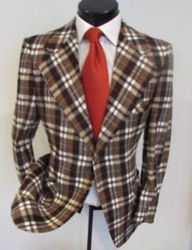 Beautiful Multi Colored Men's 2 Button Flannel Plaid Sports Jacket: Size 40 R by Malibu Clothes