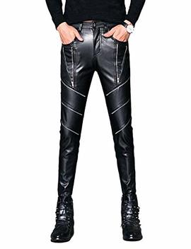Idopy Men`s Black Party Stage Performance Slim Fit Biker Faux Leather Pants by Idopy