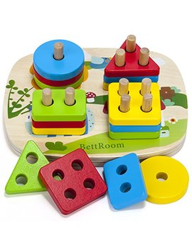 Bett Room Toddler Toys For 1 2 3 4 5 Year Old Boys Girls Wooden Educational Preschool Shape Color Recognition Geometric Board Blocks Stacking Sort Kids Children Baby Non Toxic by Bett Room