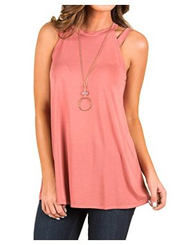 Infitty Womens Flowy High Neck Tank Tops Summer Loose Strappy Sleeveless Shirts Tunic by Infitty