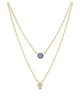 "Double Strand Hamsa Pendant Necklace In 14 K Gold Plated Sterling Silver Or Sterling Silver, 14"" 16""   100 Percents Exclusive by Aqua"