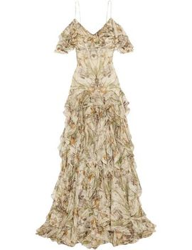Cold Shoulder Ruffled Floral Print Silk Georgette Gown by Alexander Mcqueen