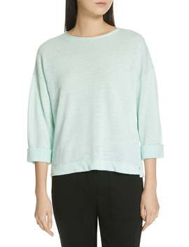 Round Neck Organic Linen Top by Eileen Fisher