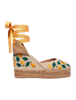 Carina 100 Embroidered Canvas Wedge Espadrilles by Castañer