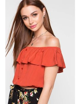 Button Front Challis Off Shoulder Top by A'gaci