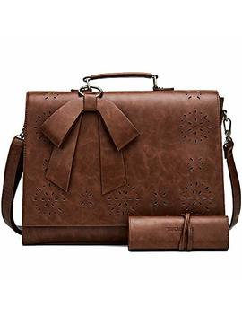 Sosatchel Women Briefcase Pu Leather Laptop Messenger Shoulder Bag Handbag Fit 15.6 Inch Notebook, Brown (Upgraded) by Sosatchel