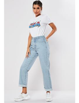 Blue Light Wash High Rise Boyfriend Fit Denim Jeans by Missguided