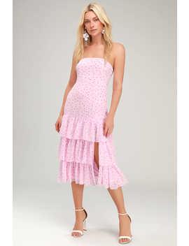 Nellie Pink Polka Dot Ruffled Midi Dress by Lulus