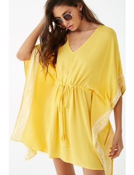 Crinkled Embroidered Trim Kaftan by Forever 21