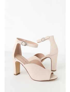 Starley Ecru Suede Ankle Strap Heels by Chinese Laundry