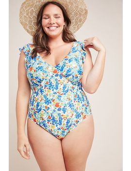 Anthropologie Ruffled Plunge One Piece Swimsuit by Anthropologie