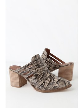Tommy Natural Snake Print Strappy Mules by Report