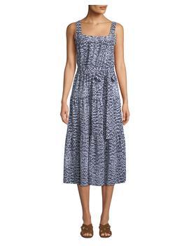 Square Neck Sleeveless Tiered Midi Dress by Michael Michael Kors