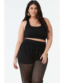 Plus Size Fishnet Drawstring Pants by Forever 21