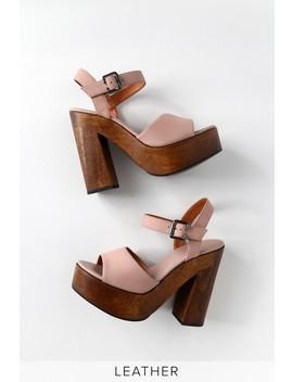Lolita Leather Powder Pink Nubuck Wooden Platform Heels by Lulus