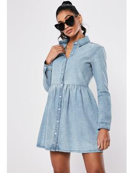 Blue Denim Smock Dress by Missguided