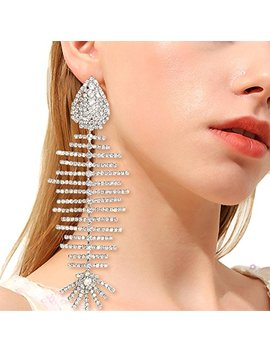 Qtmy Statement Big Large Long Fish Skeleton Earrings Unique Diamond Jewelry For Women Zircon Silver Plated by Qtmy