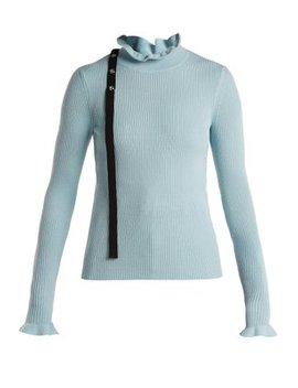 Ruffled Neck Wool Sweater by Red Valentino