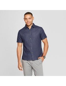 Men's Polka Dot Short Sleeve Novelty Button Down Shirt   Goodfellow & Co Xavier Navy by Down Shirt
