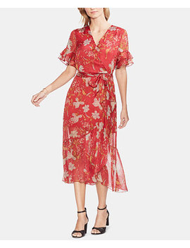 Printed Ruffled Hem Dress by Vince Camuto