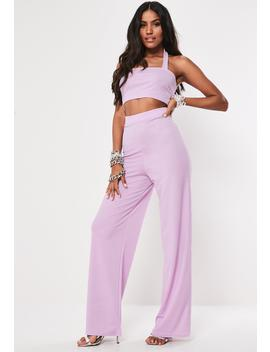 Lilac Halter Neck Crop Top And Wide Leg Trouser Co Ord Set by Missguided