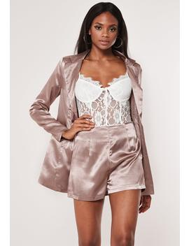 Mauve Satin Tailored Co Ord Shorts by Missguided