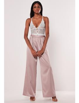 Pink Pleated Wide Leg Pants by Missguided