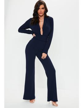 Navy Belted Plunge Blazer Wide Leg Jumpsuit by Missguided