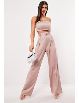 Pink Satin Wide Leg Trouser Co Ord by Missguided