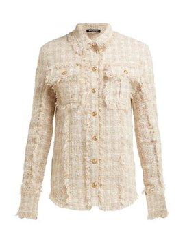 Fringed Tweed Safari Shirt Jacket by Balmain