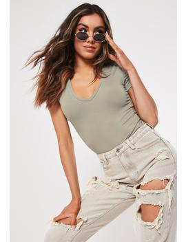 Khaki V Neck Fitted T Shirt by Missguided