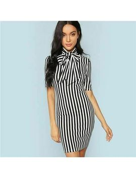 Shein Black And White Office Lady Elegant Bow Tie Neck Striped Natural Waist Pen by She In