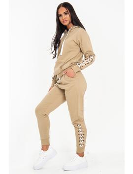 Stone Lace Detail Hooded Drawstring And Jogger Set   Jamiya by Rebellious Fashion