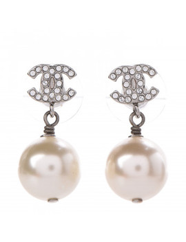 Chanel Crystal Pearl Cc Drop Earrings Silver Pearly White by Chanel