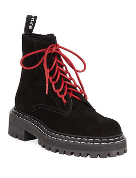Suede Lace Up Combat Boots by Proenza Schouler
