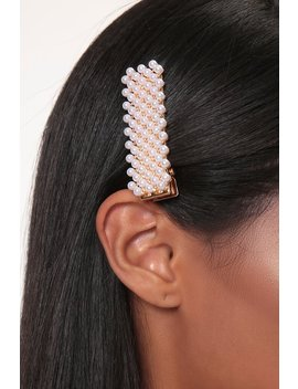 Gold Pearl Embellished Hair Clip by I Saw It First