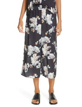 Peony Print Silk Culottes by Vince