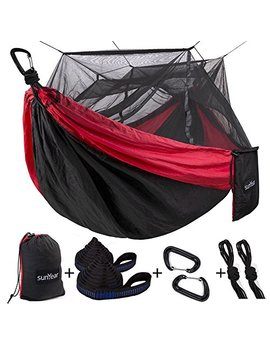 Single & Double Camping Hammock With Mosquito/Bug Net, 10ft Hammock Tree Straps & Carabiners | Easy Assembly | Portable Parachute Nylon Hammock For Camping, Backpacking, Survival, Travel & More by Sunyear