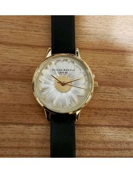 Olivia Burton Watch With 30mm White 3 D Daisy Flower Face & Black Band by Olivia Burton