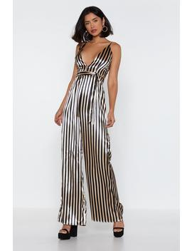 Stripe To Me Plunging Wide Leg Jumpsuit by Nasty Gal