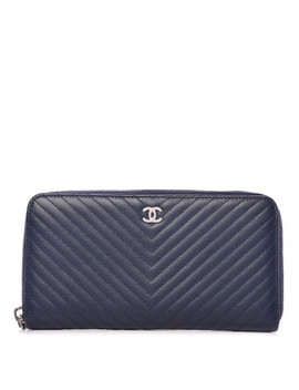 Chanel Caviar Chevron Quilted Large Gusset Zip Around Wallet Navy by Chanel