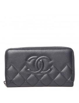 Chanel Metallic Caviar Quilted Medium Zip Around Wallet Dark Grey by Chanel