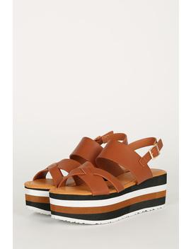 Crisscross Open Toe Double Band Striped Flatform Sandal by Urbanog