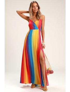 La Fern Rainbow Striped Sleeveless Maxi Dress by Lulus
