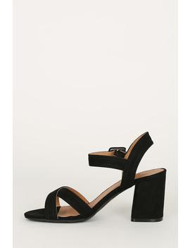Open Toe Crisscross Ankle Strap Low Block Heel by Urbanog