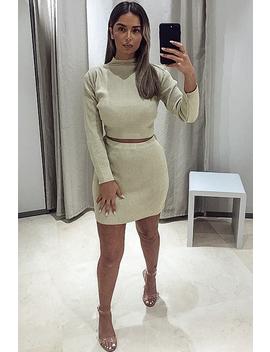 Beige Rib Knit Crop Jumper Mini Skirt Co Ord   Katie by Rebellious Fashion