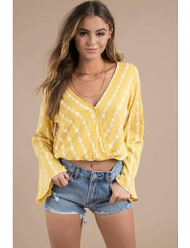 Like Sweet Honey Yellow Surplice Blouse by Tobi