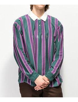 Obey Script Dark Teal Long Sleeve Polo Shirt by Obey